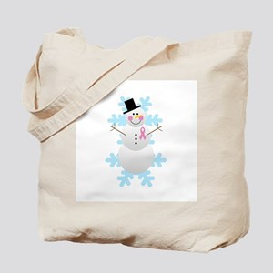 Breast Cancer Awareness Pink Ribbon Snowman Tote B