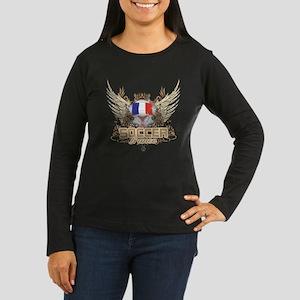 Soccer France Women's Long Sleeve Dark T-Shirt