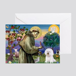 St Francis / Bichon Frise Greeting Card
