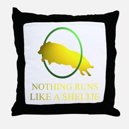 Running Sheltie Throw Pillow