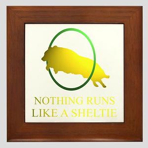 Running Sheltie Framed Tile