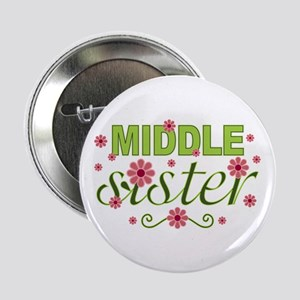 """Middle Sister Garden Flowers 2.25"""" Button"""