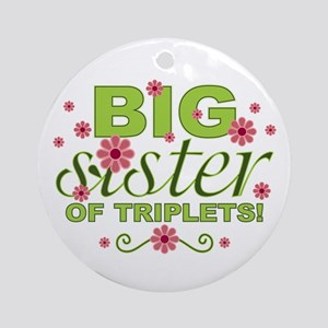 Big Sister of Triplets Ornament (Round)