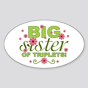 Big Sister of Triplets Oval Sticker