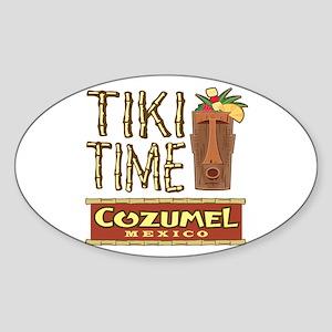 Cozumel Tiki Time - Oval Sticker