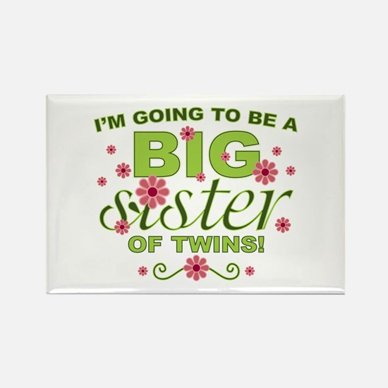 Big Sister To Be Twins Rectangle Magnet