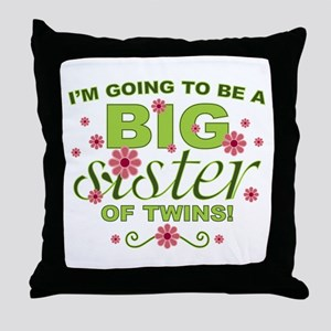 Big Sister To Be Twins Throw Pillow