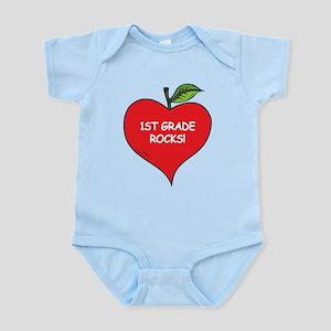 Heart Apple 1st Grade Rocks Infant Bodysuit