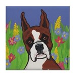 Boxer in Flowers Tile Coaster