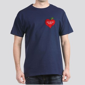 Heart Apple 2nd Grade Rocks Dark T-Shirt