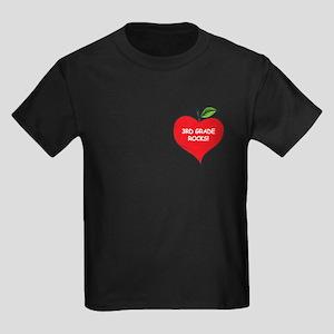 Heart Apple 3rd Grade Rocks Kids Dark T-Shirt