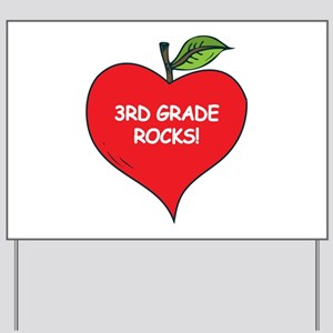 Heart Apple 3rd Grade Rocks Yard Sign