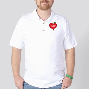 Heart Apple 4th Grade Rocks Golf Shirt