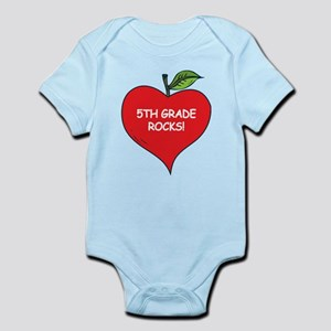 Heart Apple 5th Grade Rocks Infant Bodysuit