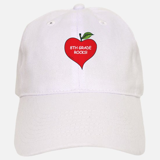 Heart Apple 8th Grade Rocks Baseball Baseball Cap