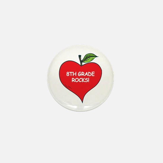 Heart Apple 8th Grade Rocks Mini Button