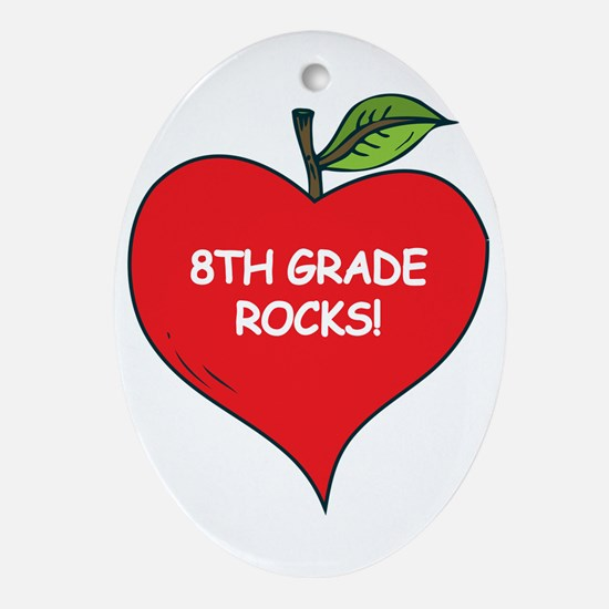 Heart Apple 8th Grade Rocks Oval Ornament