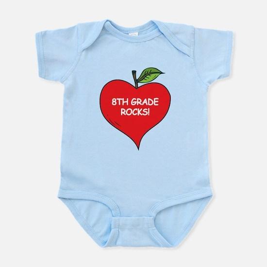 Heart Apple 8th Grade Rocks Infant Bodysuit