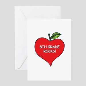 Heart Apple 8th Grade Rocks Greeting Card