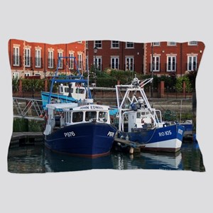 Fishing boats, Portsmouth, England Pillow Case