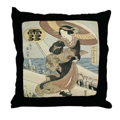 Japanese Woman Throw Pillow