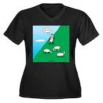 Hiking Sheep Women's Plus Size V-Neck Dark T-Shirt