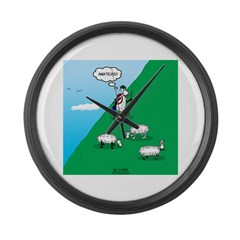 Hiking Sheep Large Wall Clock