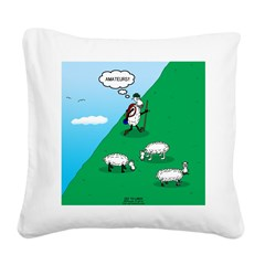Hiking Sheep Square Canvas Pillow