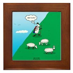Hiking Sheep Framed Tile