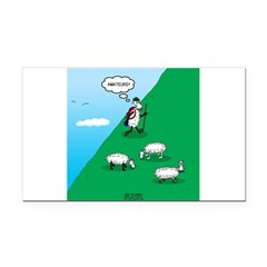 Hiking Sheep Rectangle Car Magnet