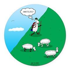 Hiking Sheep Round Car Magnet