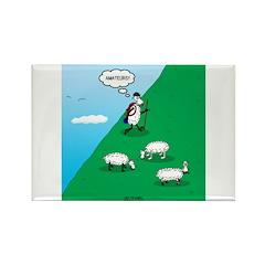 Hiking Sheep Rectangle Magnet