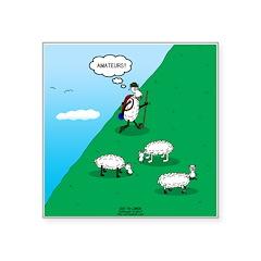 Hiking Sheep Square Sticker 3
