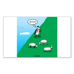 Hiking Sheep Sticker (Rectangle)