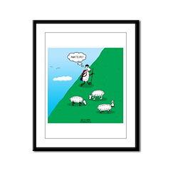 Hiking Sheep Framed Panel Print
