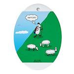 Hiking Sheep Oval Ornament