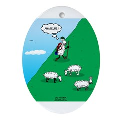 Hiking Sheep Oval Ornament
