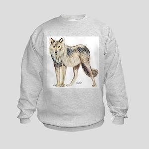 Gray Wolf (Front) Kids Sweatshirt