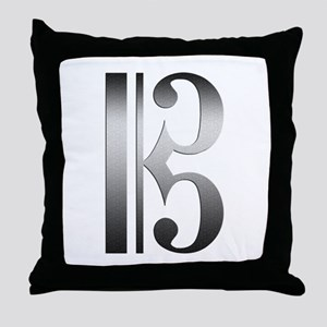 """""""Silver"""" C Clef Throw Pillow"""