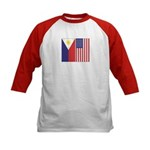 Philippine Flag & US Flag Kids Baseball Jersey