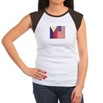 Philippine Flag & US Flag Women's Cap Sleeve T-Shi