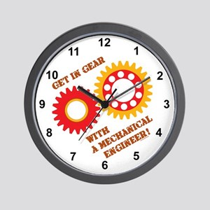 Red Get In Gear Wall Clock