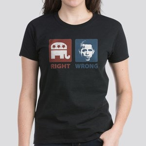 Anti Obama: Right/Wrong Women's Dark T-Shirt