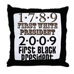 Presidential Firsts: 1789-2009 Throw Pillow
