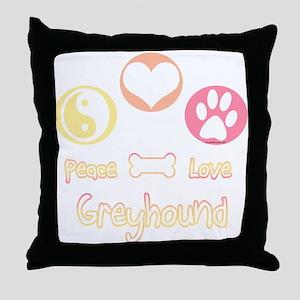 Greyhound Peace2 Throw Pillow
