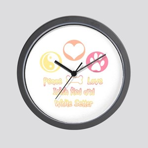 Red & White Peace2 Wall Clock