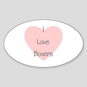 I Love Boxers Oval Sticker