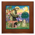 St Francis / Cocker (buff) Framed Tile