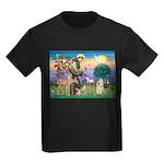 St Francis / Cocker (buff) Kids Dark T-Shirt