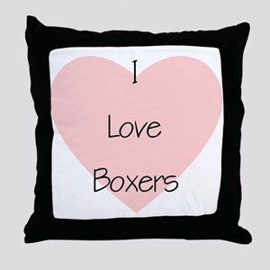 I Love Boxers Throw Pillow